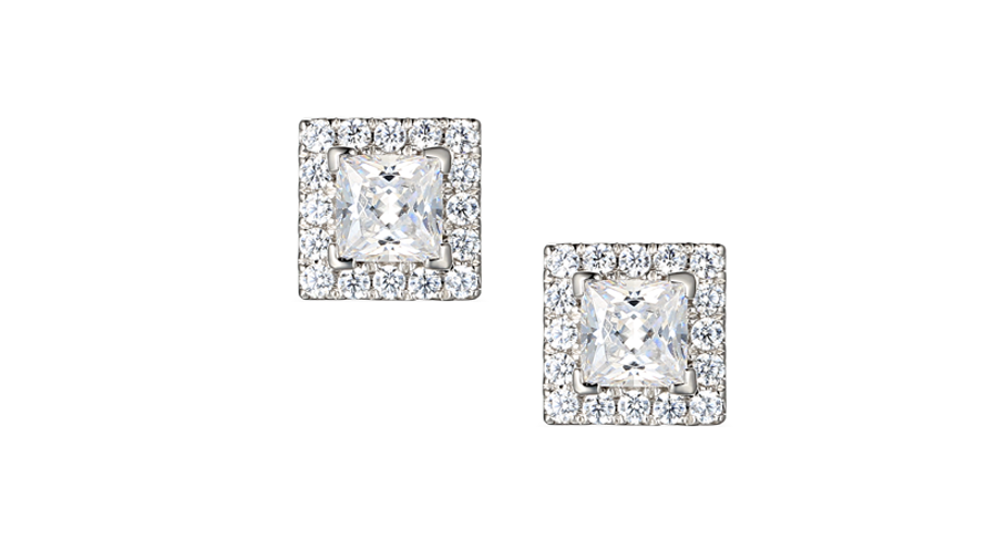 Silver square halo cluster earrings