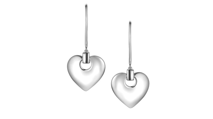 Silver heart hook earrings