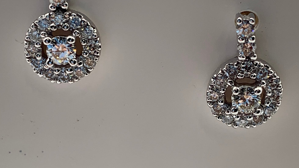 9ct white gold Diamond cluster drop studs