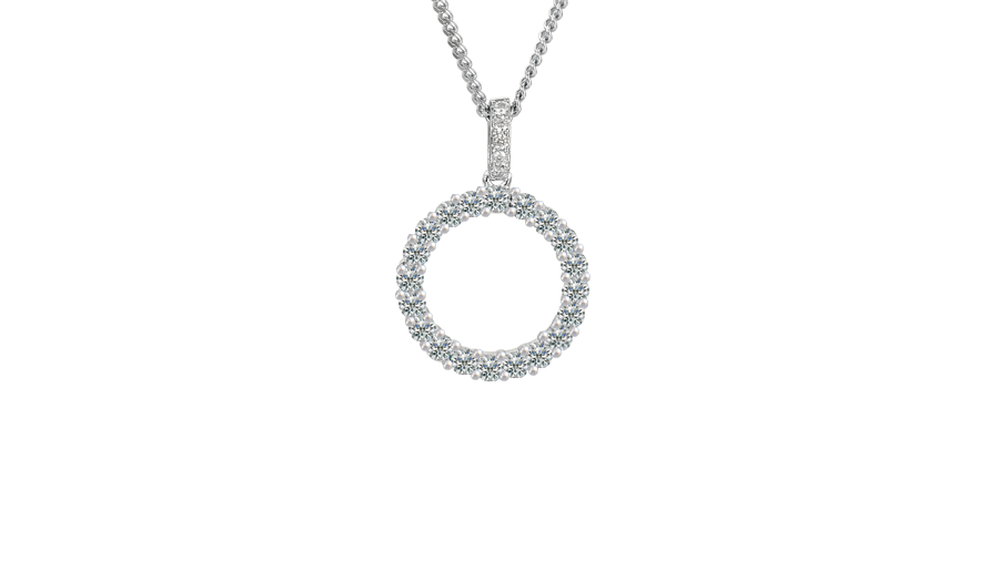 Silver and Cubic Zirconia circle necklace