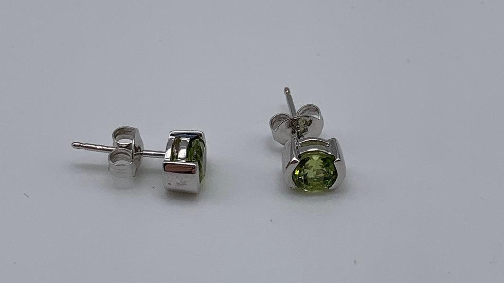 9ct white gold Peridot earrings