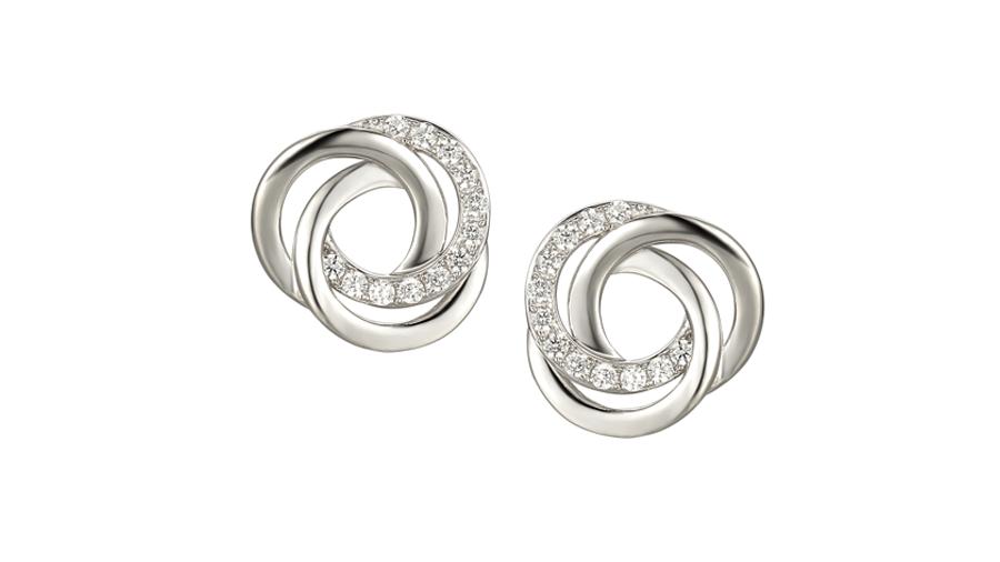 Silver Cubic Zirconia spiral earrings