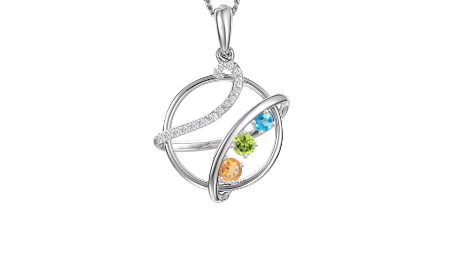 Silver 3 row Cubic Zirconia, Blue Topaz, Citrine and Peridot necklace