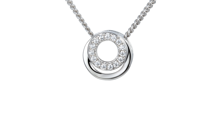 Silver Cubic Zirconia round cluster necklace