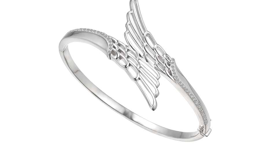 Silver Angel wing bangle
