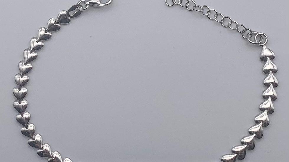Silver flat heart chain bracelet