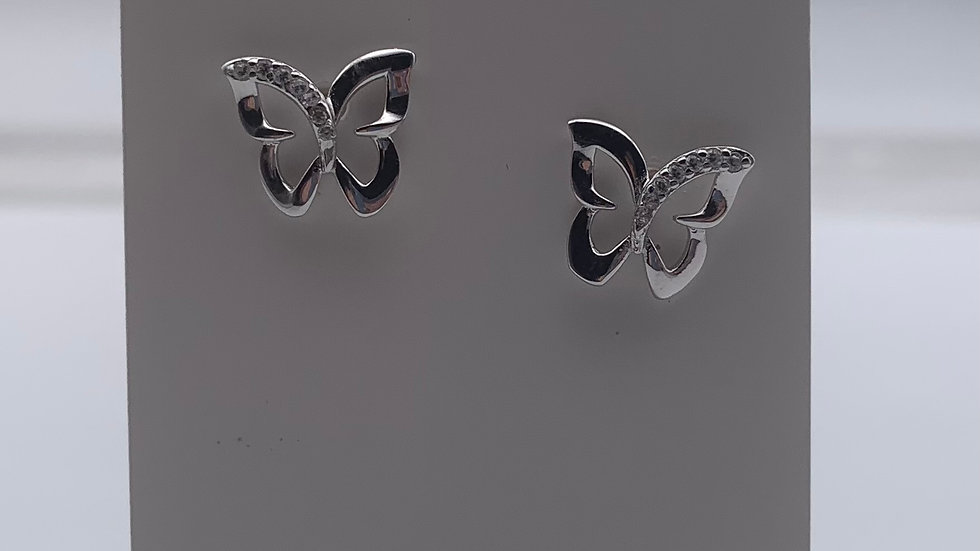 Silver Cubic Zirconia outline butterfly studs