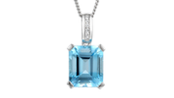 Silver and blue Topaz/Cubic Zirconia octagon necklace