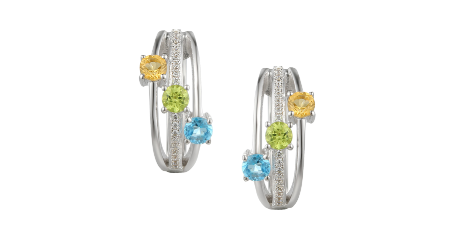 Silver 3 row Cubic Zirconia, Blue Topaz, Citrine and Peridot earrings