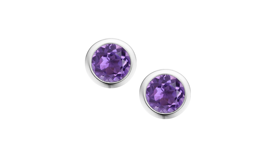 Silver round Amethyst rub over stud earrings