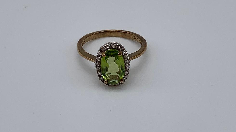 Pre-owned 9ct yellow gold Peridot & Diamond ring