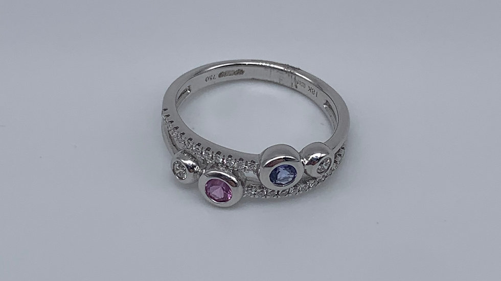 18ct white gold Pink Sapphire & Tanzanite ring