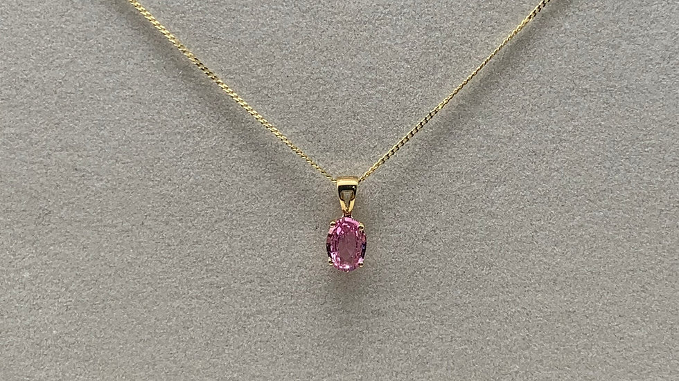 9ct yellow gold Pink Sapphire necklace
