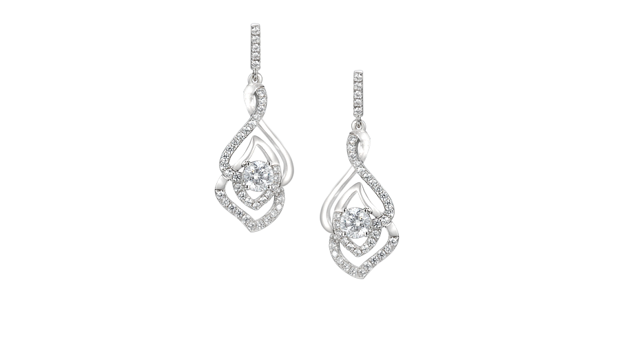 Silver Cubic Zirconia twist earrings