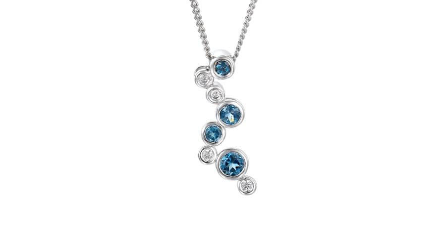 Silver bubble Blue Topaz and Cubic Zirconia necklace