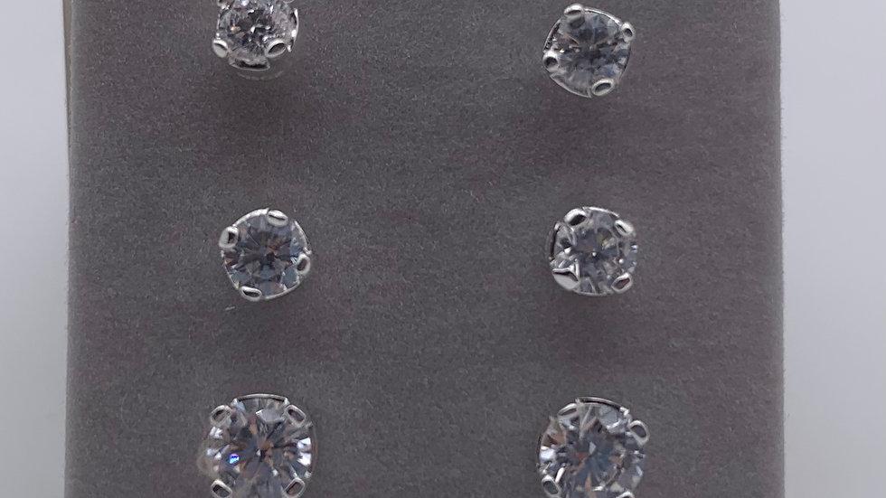 Silver set of three Cubic Zirconia studs