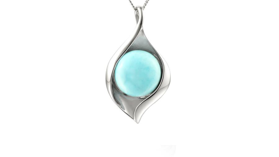 Silver leaf shaped Larimar necklace
