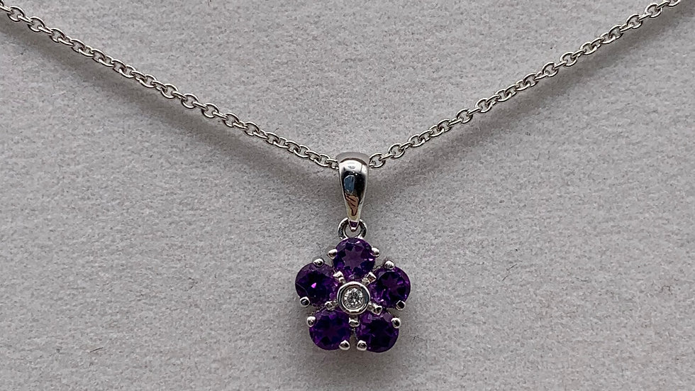 9ct white gold Diamond & Amethyst necklace