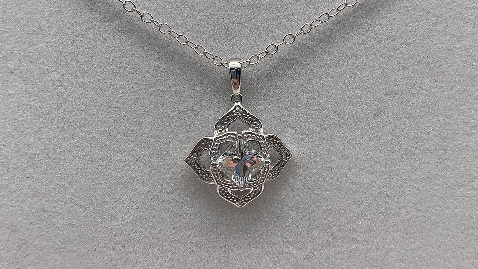 9ct white gold Topaz & Diamond necklace