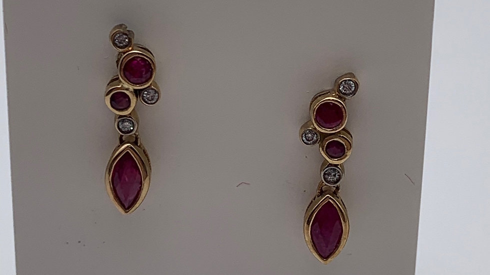 9ct yellow gold Ruby & Diamond earrings