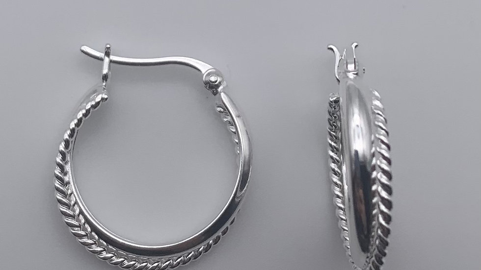 Silver crossover hinged hoops