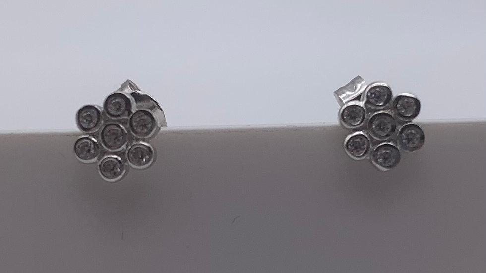 Silver Cubic Zirconia flower studs