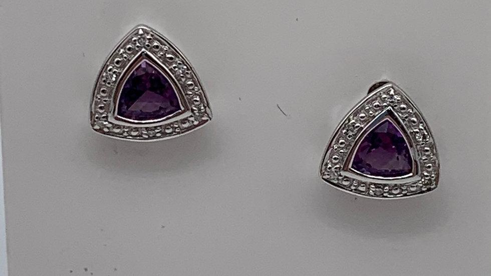 9ct white gold Diamond & Amethyst studs