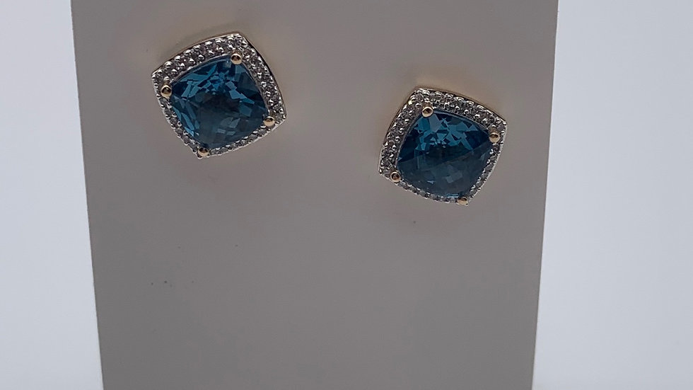 Preowned 9ct yellow gold Diamond & Topaz earrings