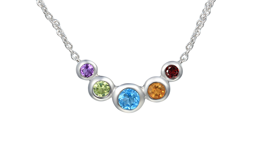 Silver 5 stone curved necklace, Amber, Blue Topaz, Citrine, Ruby and Peridot