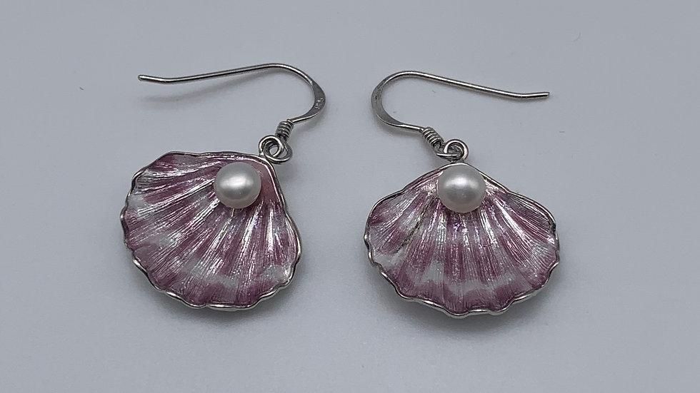 silver Enamel & Pearl earrings
