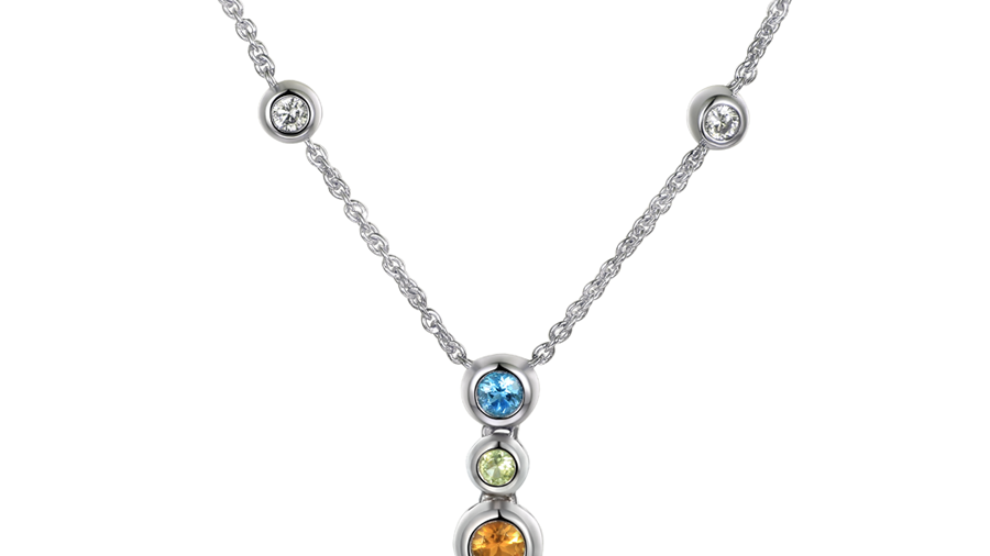 Silver 3 stone drop necklace, Blue Topaz, Citrine and Peridot