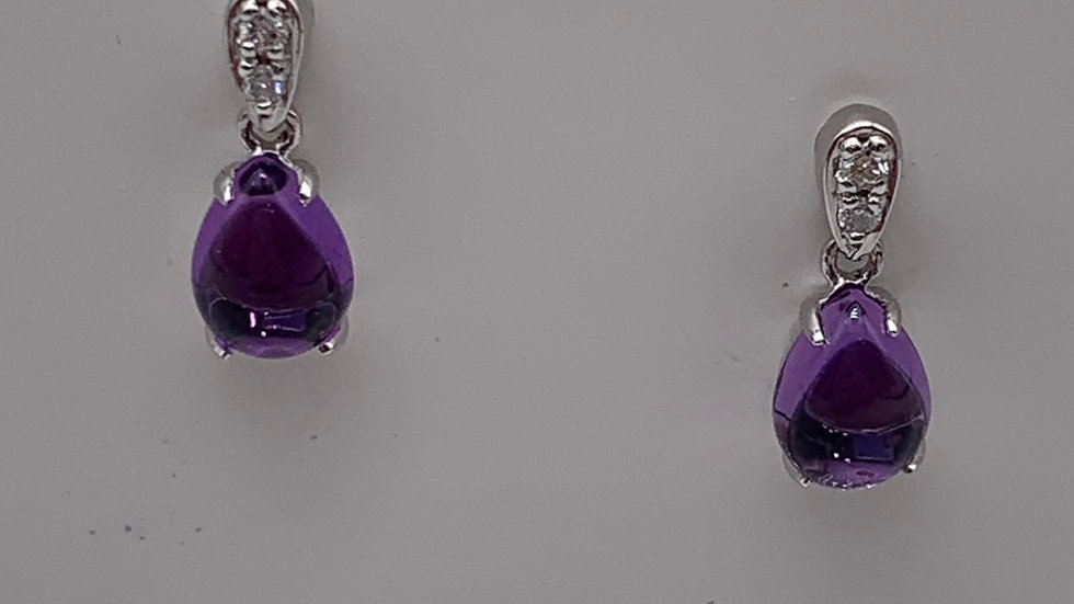 9ct white gold Diamond & Amethyst earrings