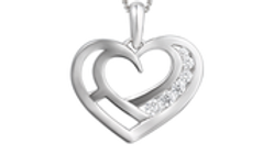Silver open heart Cubic Zirconia necklace