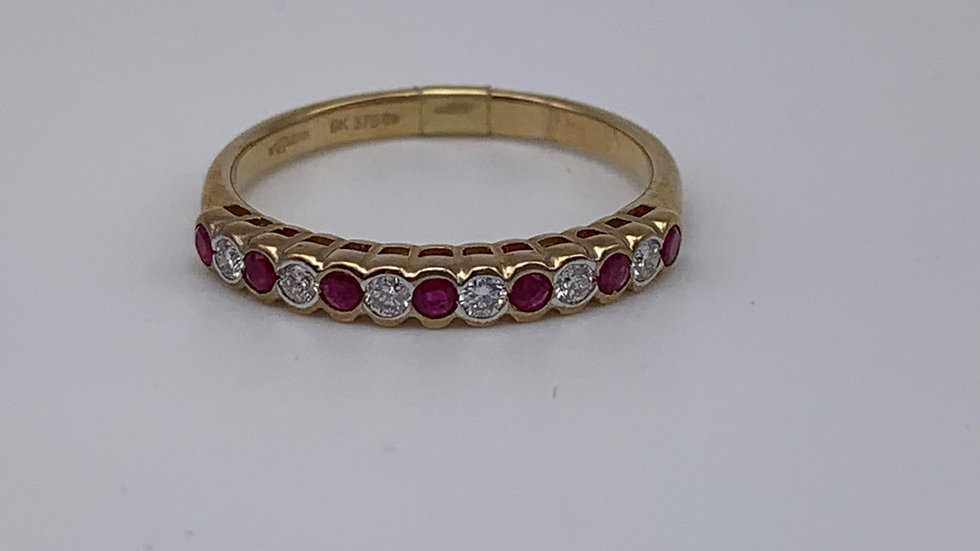 9ct yellow gold Diamond & Ruby ring