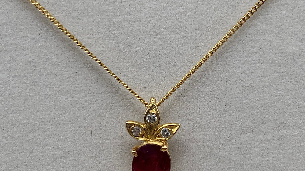 Preowned 18ct yellow gold Diamond & Ruby necklace