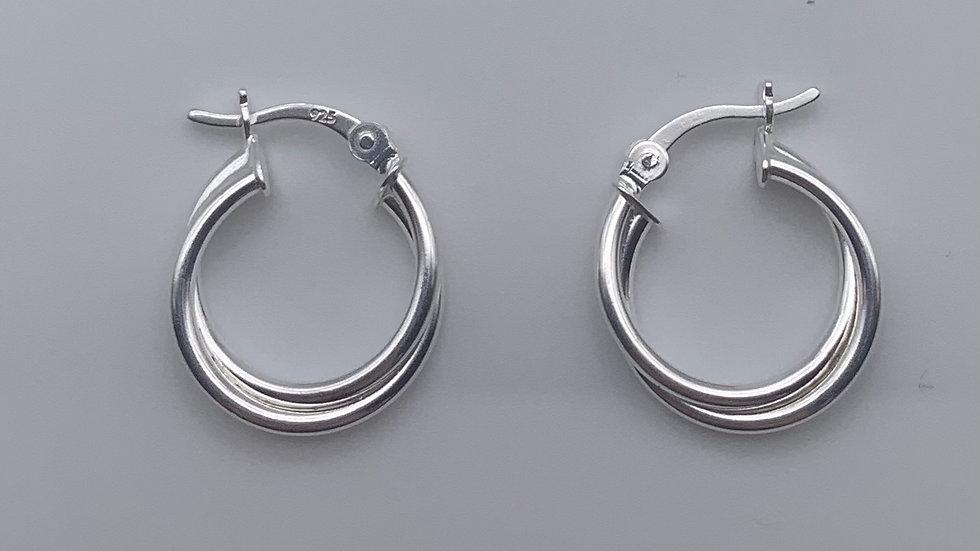 Silver crossover hinged hoop