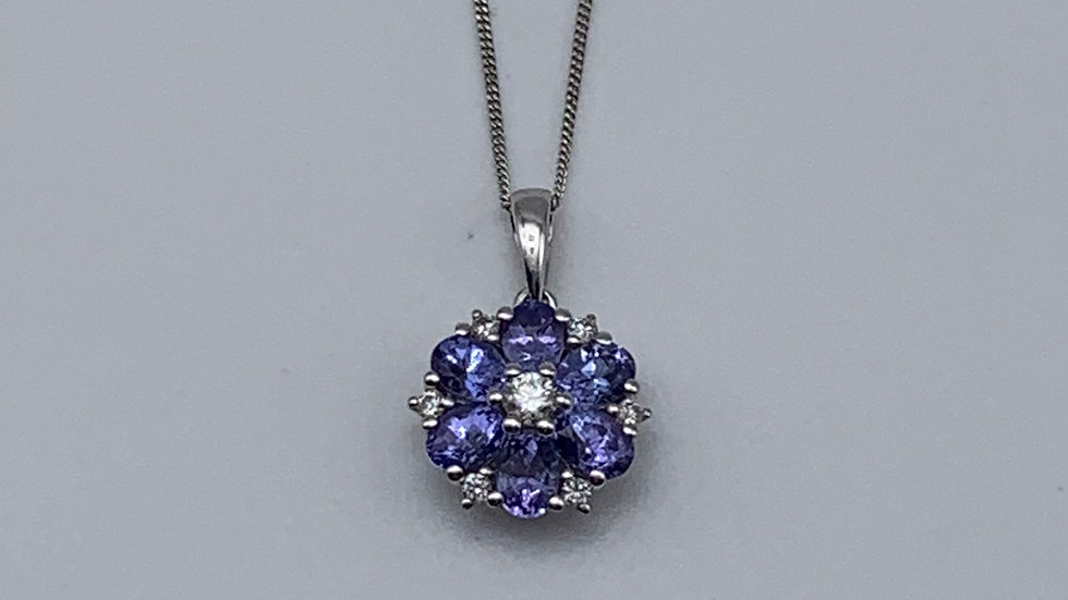 9ct white gold Diamond & Tanzanite necklace