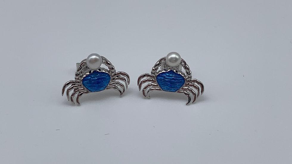 silver Enamel & Pearl crab earrings