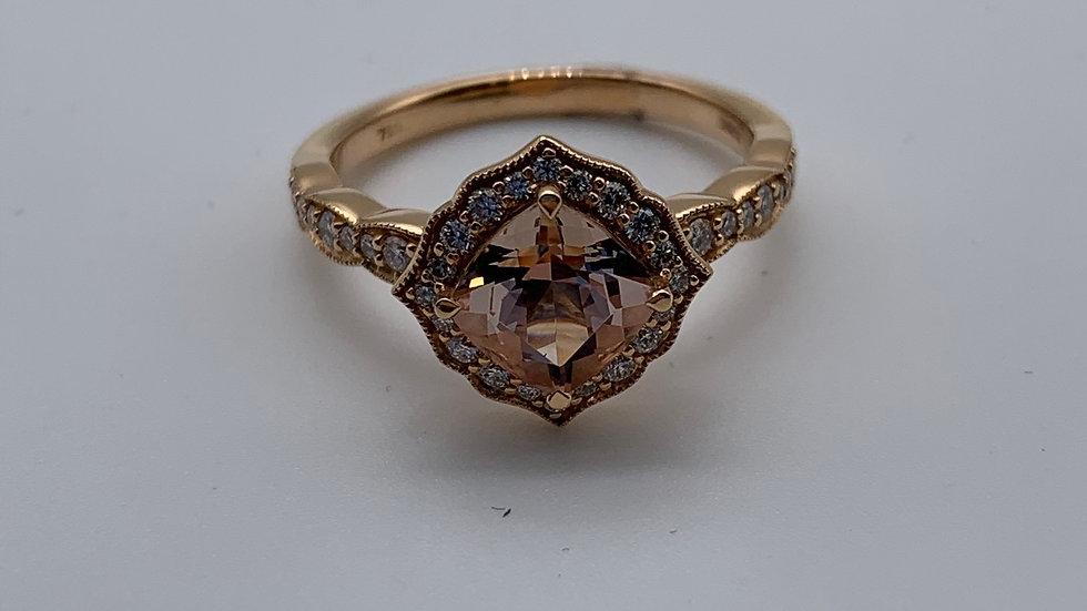 18ct yellow gold Diamond and Morganite ring