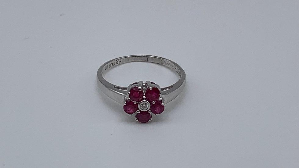 9ct white gold Ruby flower ring