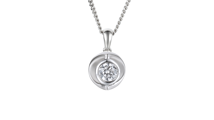 Silver Cubic Zirconia single stone necklace