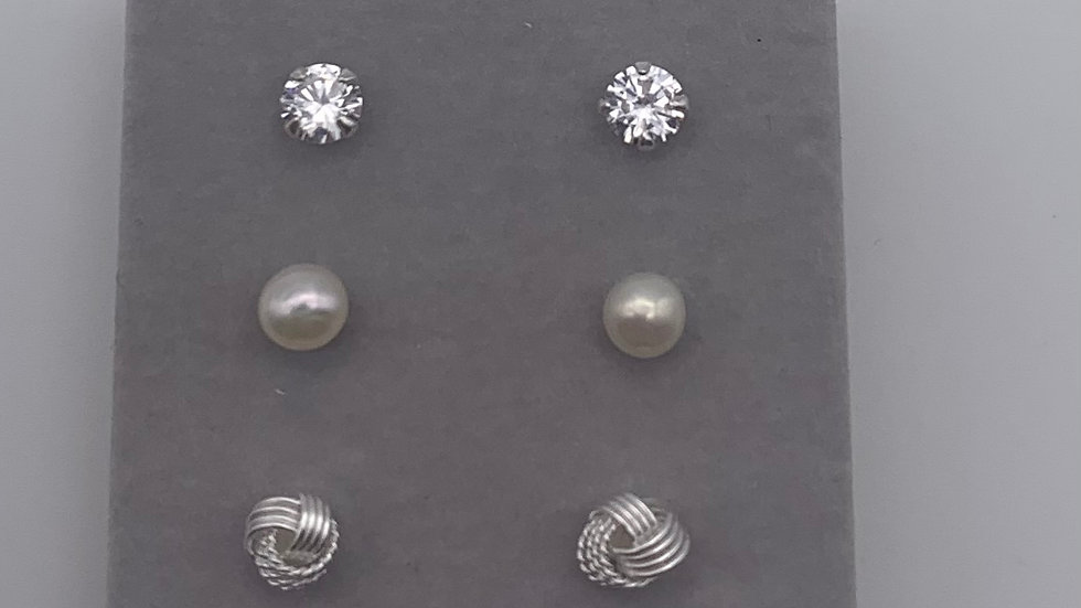 Silver set of 3 knot/Freshwater Pearl/Cubic Zirconia studs