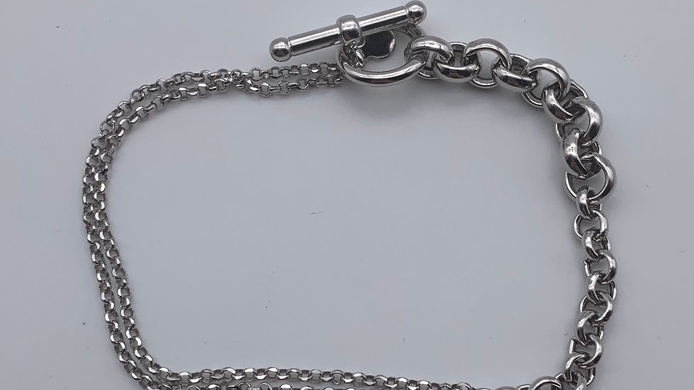 Silver graduated belcher t-bar bracelet