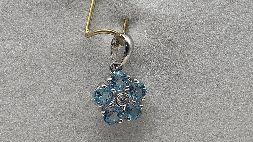 9ct white gold Topaz & Diamond pendant