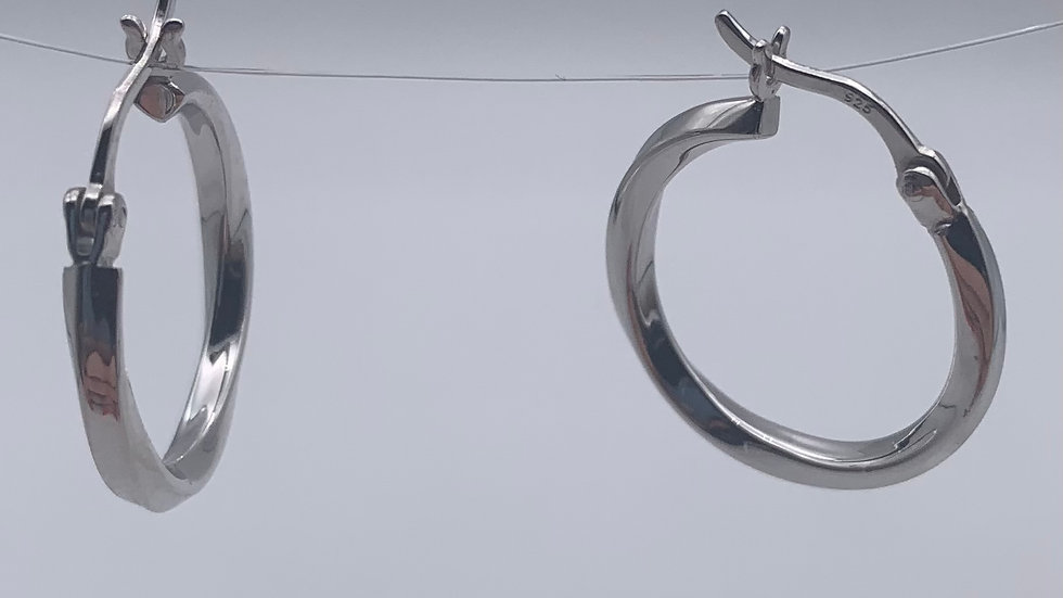 Silver rhodium plated twist hinged hoops