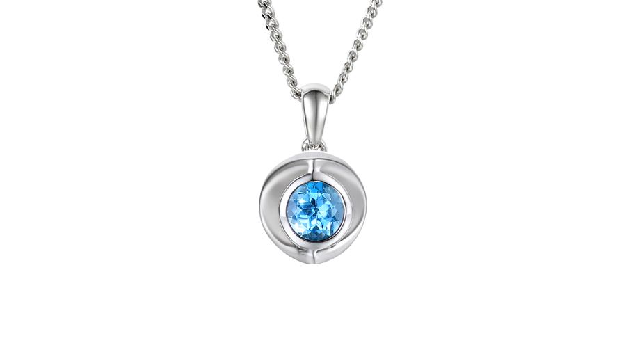 Silver 4.5mm round Blue Topaz single stone necklace