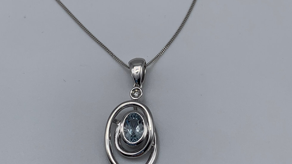 9ct white gold Diamond & Aquamarine necklace
