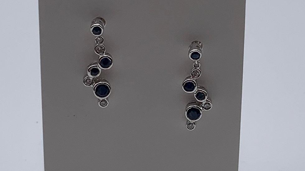 9ct white gold Diamond & Sapphire earrings