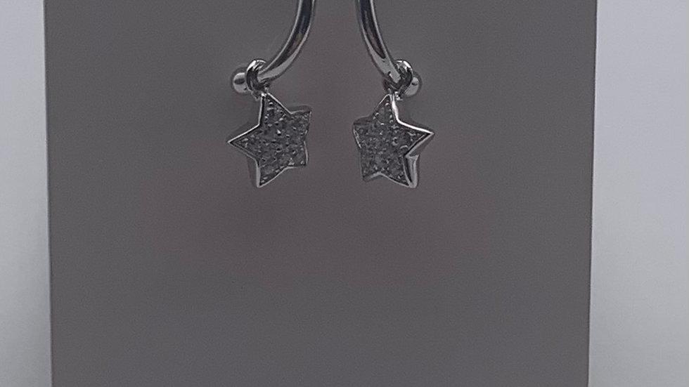 Silver Cubic Zirconia star charm studs