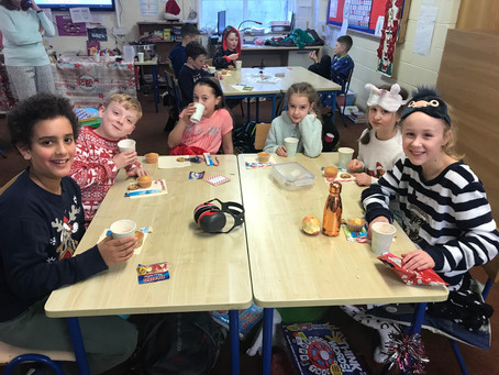 Ms Kerrigan's pj day to raise money for Ciaran Carr Foundation.Children had hot chocolate and treats